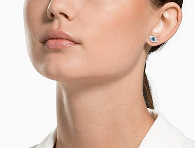 Women's Symbolic Stud Pierced Earrings, Blue, Rose-gold tone plated