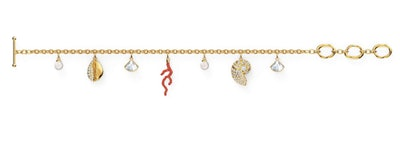 Women's Shell Coral Bracelet, Red, Gold-tone plated