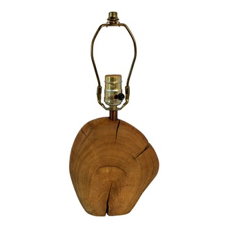 1970s Sculptural Natural Raw Wood Accent Table Lamp