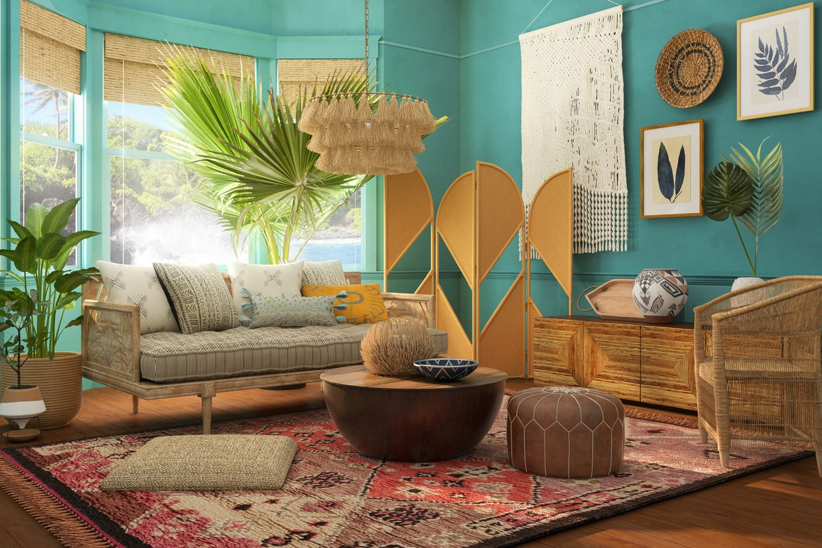 A living room is beautifully decorated on Modsy to look like Moana's home from Disney's 'Moana.'