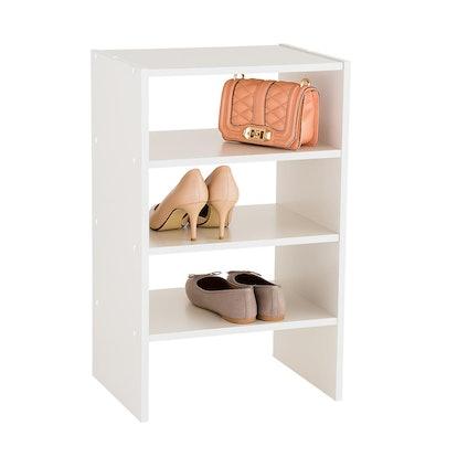 White 4-Shelf Shoe Stacker