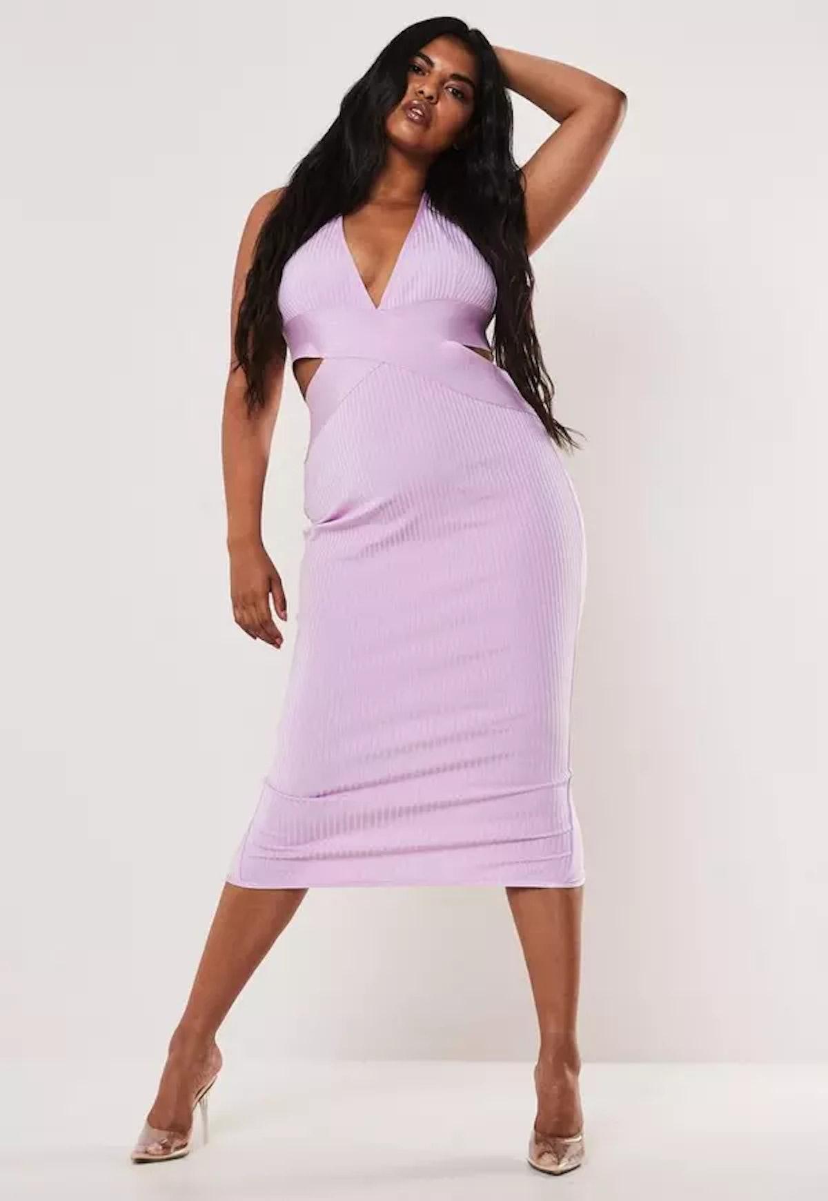Plus Size Lilac Halterneck Bandage Midaxi Dress