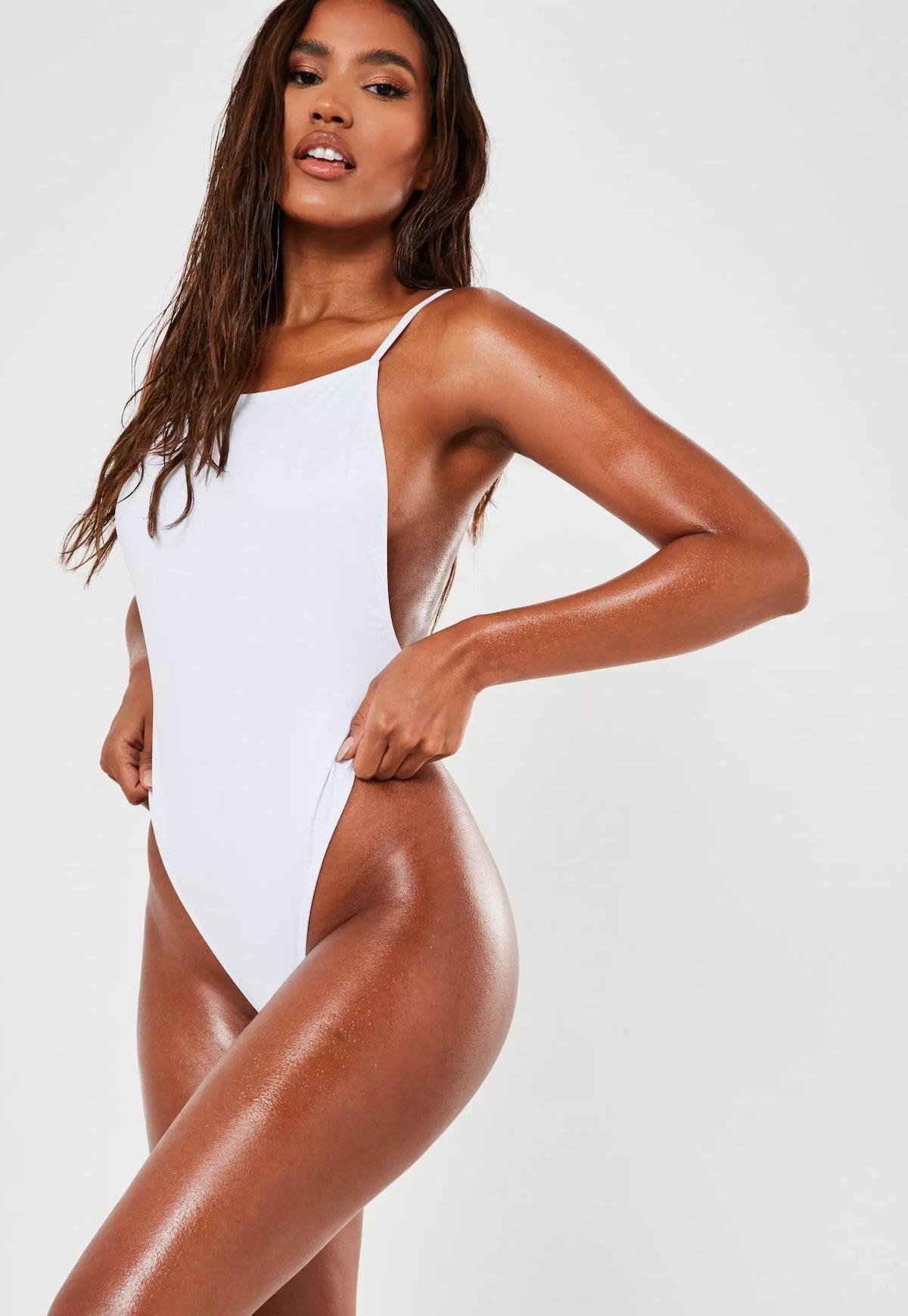 White Square Neck High Leg Swimsuit