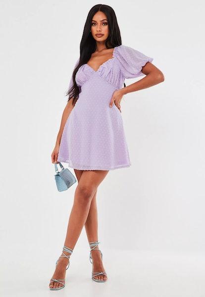 Lilac Dobby Milkmaid Skater Dress