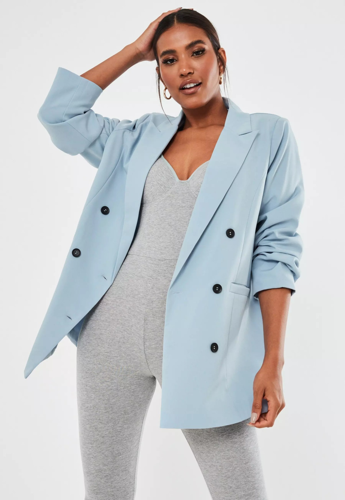 Blue Co Ord Oversized Double Breasted Blazer