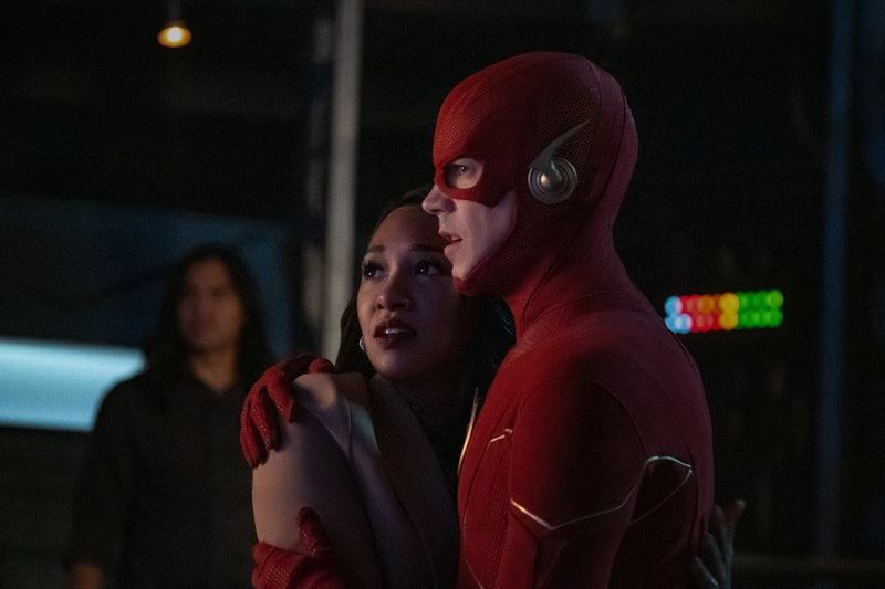 Candice Patton as Iris West-Allen and Grant Gustin as The Flash