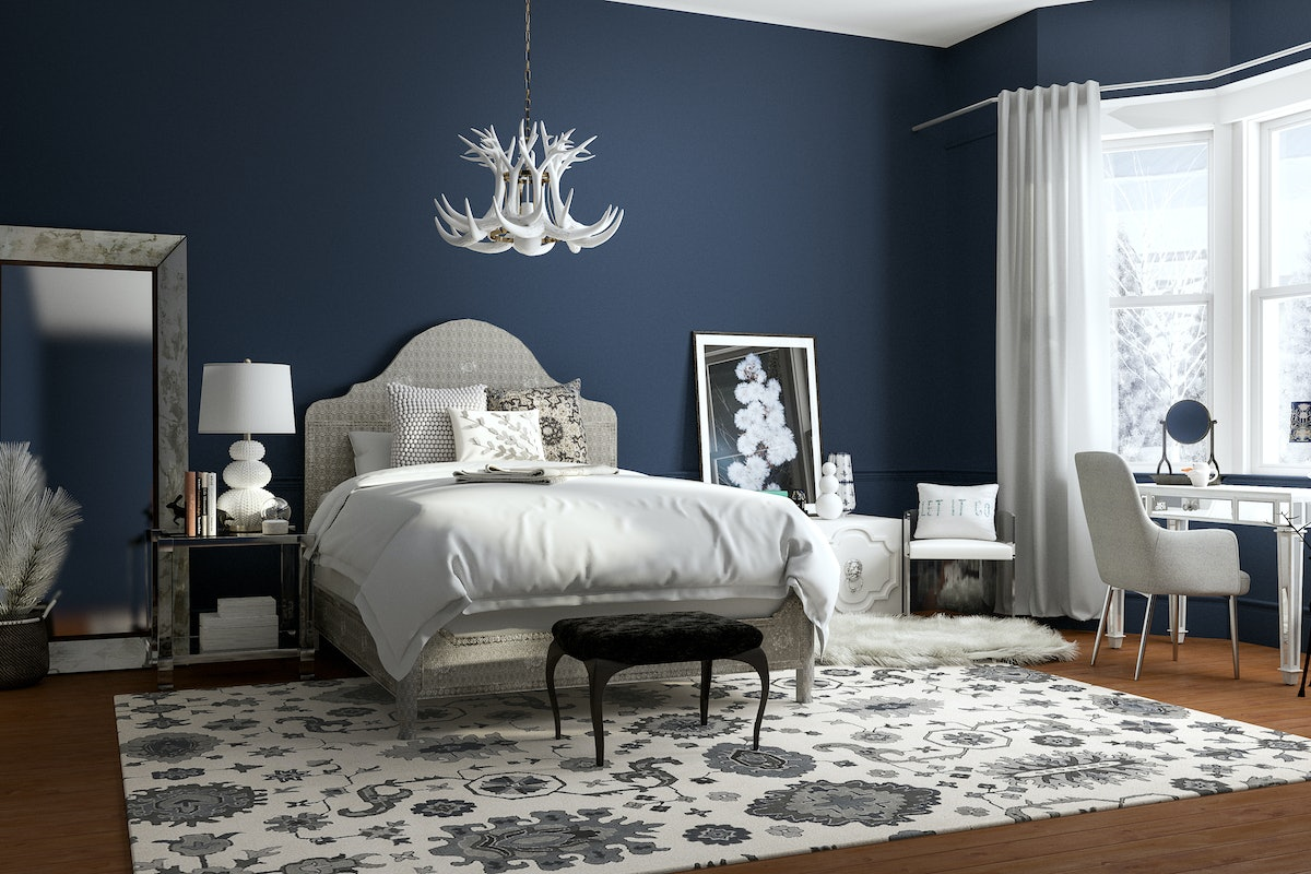 A bedroom is beautifully decorated on Modsy to look like Elsa's home from Disney's 'Frozen.'