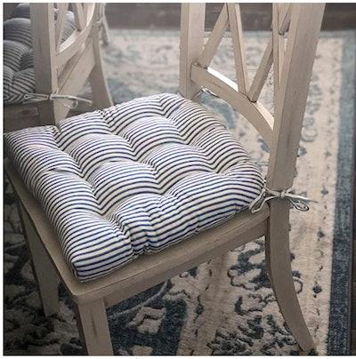 Barnett Home Decor Ticking Stripe Black Dining Chair Pad with Ties