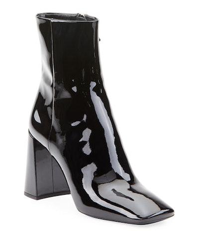 Patent Leather Block-Heel Booties