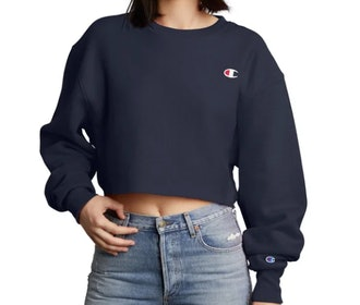 Reverse Weave Cropped Cut-Off Crew
