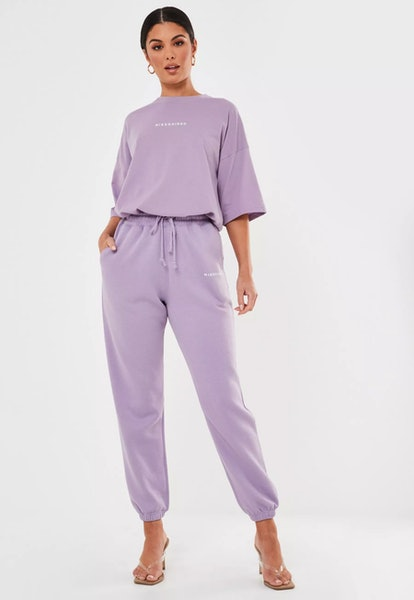 Lilac Missguided Slogan Oversized 90s Joggers