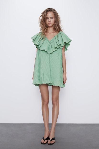 Voluminous Pleated Dress