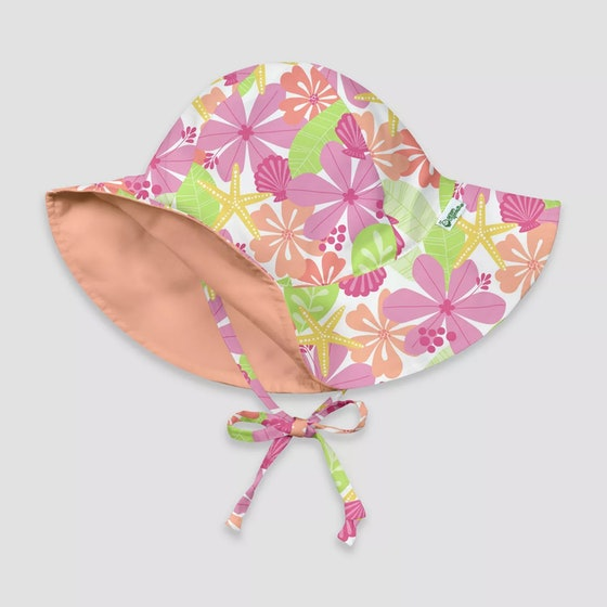 I Play By Green Sprouts Baby Girls' Floral Reversible Brim Swim Hat