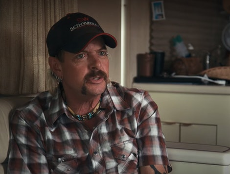 Joe Exotic gives an interview in Tiger King on Netflix.