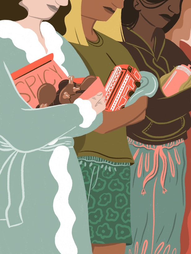 Illustration of women holding not-babies