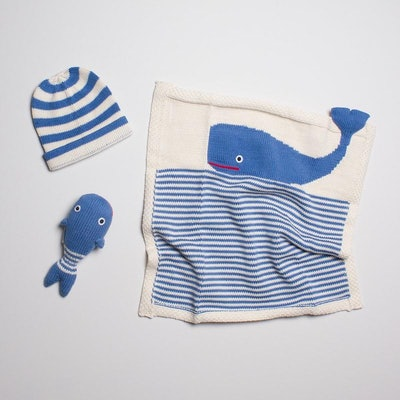 Organic Baby Gift Set - Handmade Lovey Blanket, Rattle Toy & Hat | Whale
