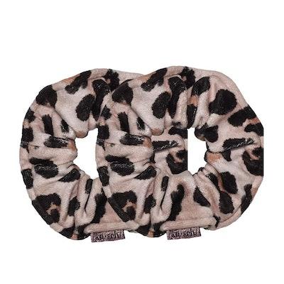 Kitsch Microfiber Towel Scrunchies in Leopard