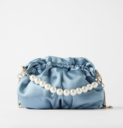Pearl Handle Satin Effect Crossbody Bag