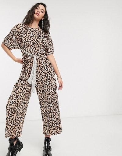 ASOS Design Lounge Plisse Tie Front Jumpsuit in Leopard Print