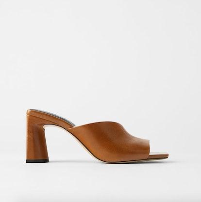 Asymmetric Heeled Leather Slides
