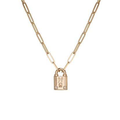 Small Family Gothic Lock Pendant With 2 White Diamonds