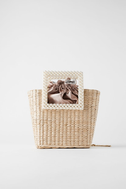 Pearl Handle Basket Bag