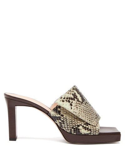 Isa Square Open-Toe Platform Leather Mules