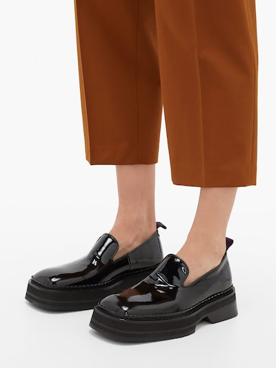 Baccarat Square-Toe Patent-Leather Loafers