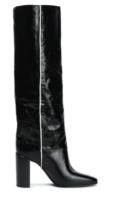 Crinkled-leather knee boots