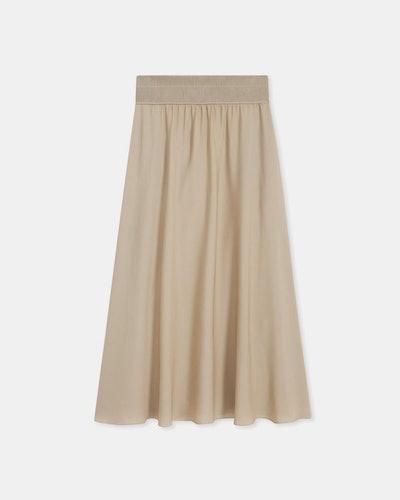 Ribbed Waist Volume Skirt In Silk