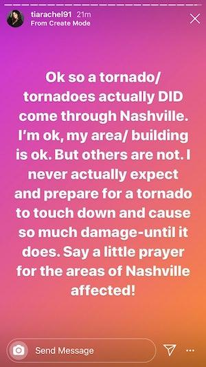 Tia Booth Nashville Tornado Instagram Update