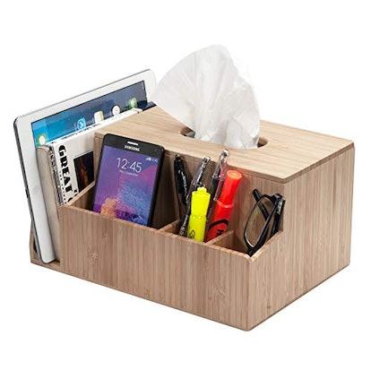 MobileVision Bamboo Tissue Box Holder