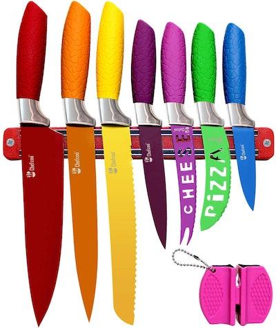 Chefcoo Kitchen Knife Set Plus Magnetic Strip and Sharpener