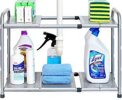 Simple Houseware Under Sink 2 Tier Expandable Shelf Organizer Rack