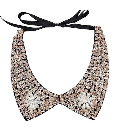 Joyci Vintage Sequins Detachable Shirt Collar
