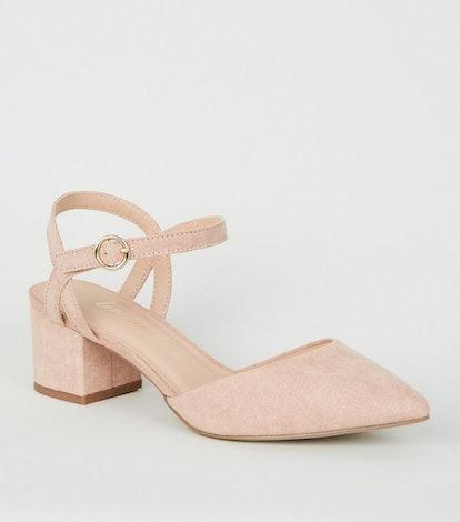 Wide Fit Pale Pink Suedette Low Heel Court Shoe