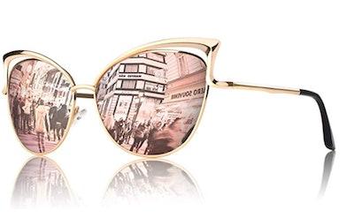 GQUEEN Mirrored Cat Eye Sunglasses