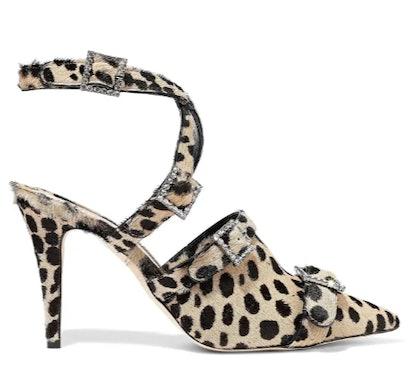 Crystal-embellished leopard-print calf hair pumps