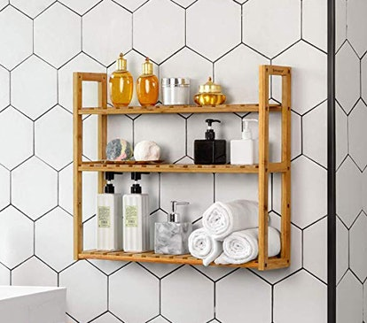 SONGMICS Bamboo Bathroom Shelves