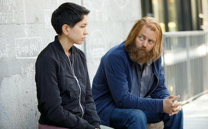 Sonoya Mizuno as Lily and Nick Offerman as Forest in 'DEVS'