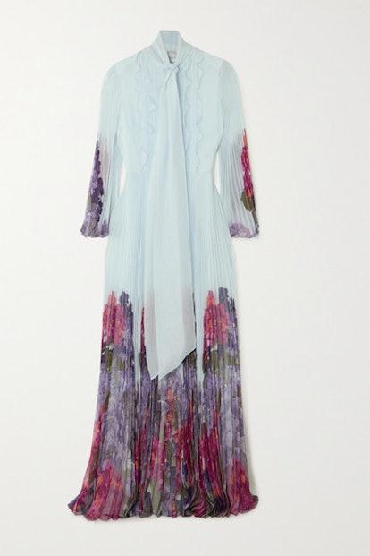 Ruffled Pleated Floral-Print Silk-Chiffon Gown