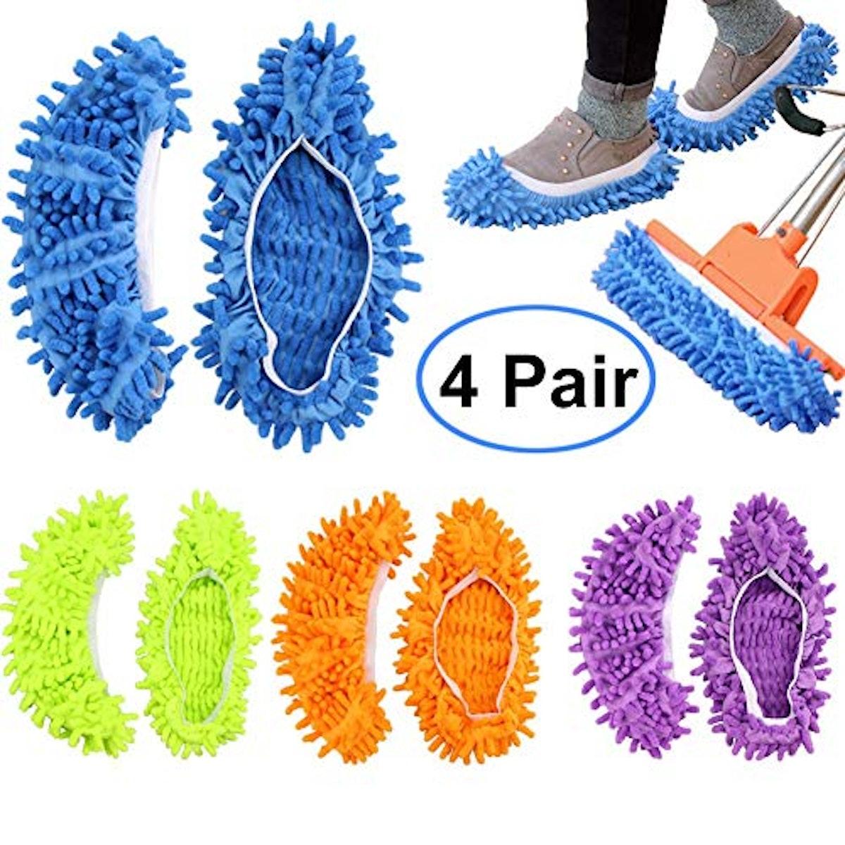 FEATHERHEAD Bontip 4 Pairs (8 Pieces) Unisex Washable Dust Mop Slippers Shoes