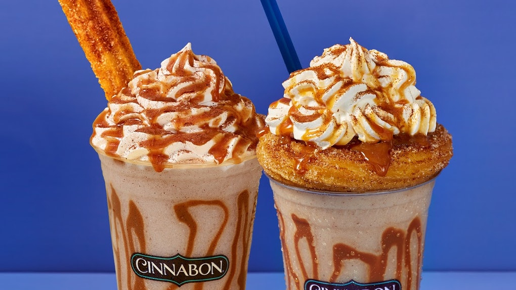 Cinnabon's new Churro Chillatta drink comes with your choice of a churro swirl or stick.