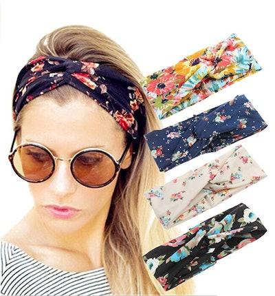 ELACUCOS Boho Floral Headbands (4-Pack)