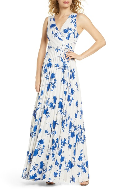 Lulus Lindsie Floral Pleated Wrap Front Maxi Dress