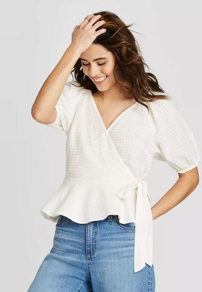 Universal Thread Women's Short Sleeve Wrap Top in White