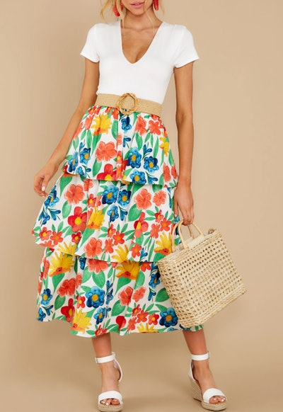 On Your Bright Side White Floral Print Midi Skirt