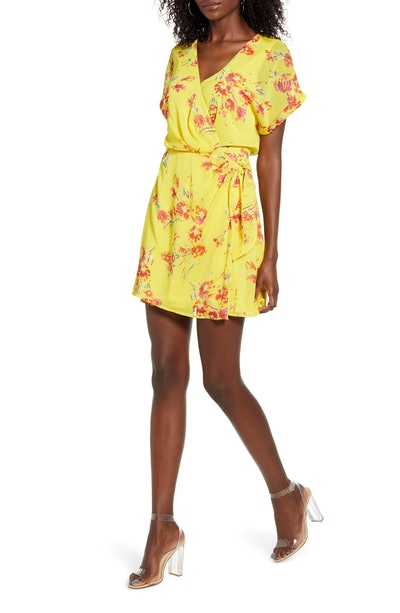 All In Favor Simone Floral Wrap Front Minidress in Mustard-Red Floral