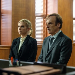 Rhea Seehorn as Kim Wexler and Bob Odenkirk as Jimmy McGill in Better Call Saul