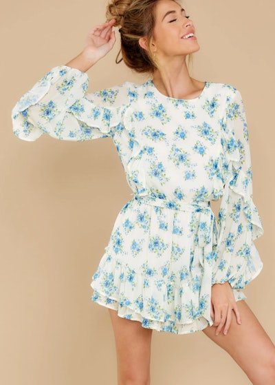 All About Spring Ivory Floral Print Romper